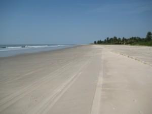 Endless empty beach at Bucotte, Casamance, Senegal